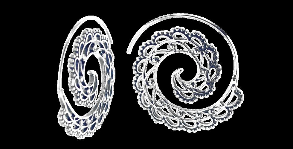 Oxyderede sølvøreringe med mønster - oxyderede creoler