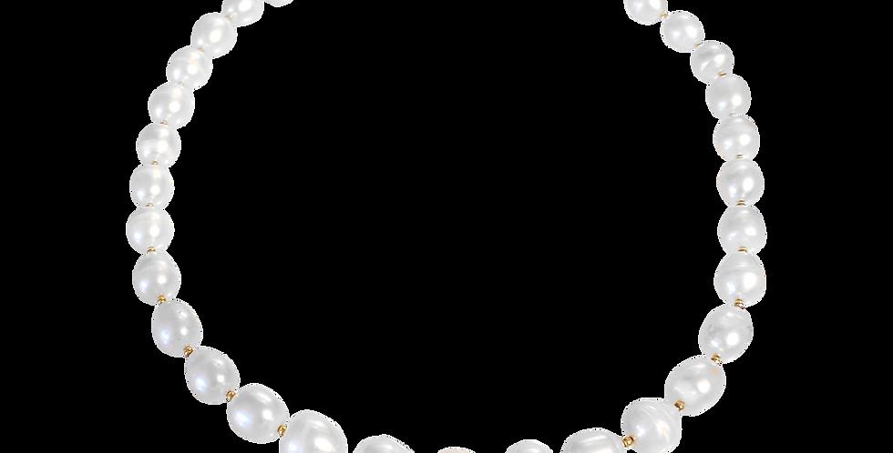 Forgyldt halskæde med store perler