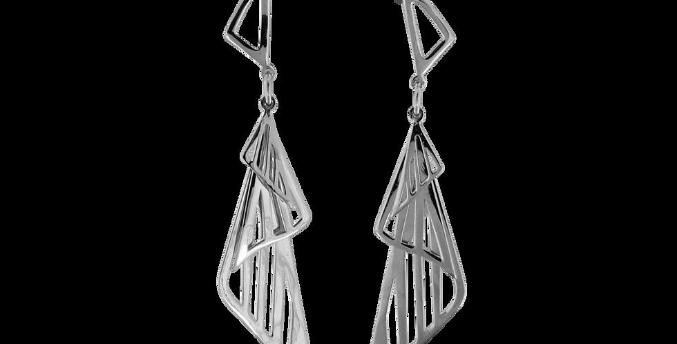 Sølvøreringe i design med trekanter