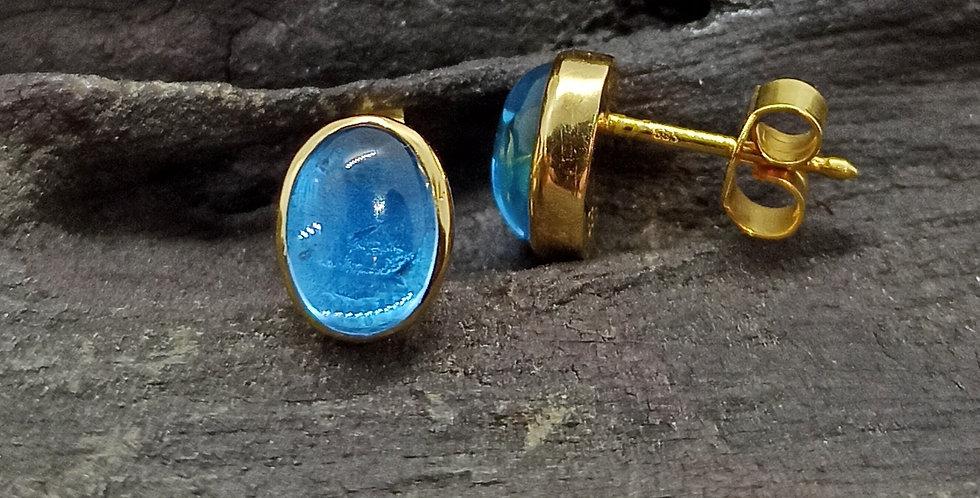 Guldørestikkere 14 kt. med blå topas
