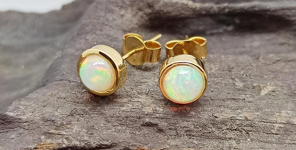 14 kt. guldørestikkere med etiopisk opal