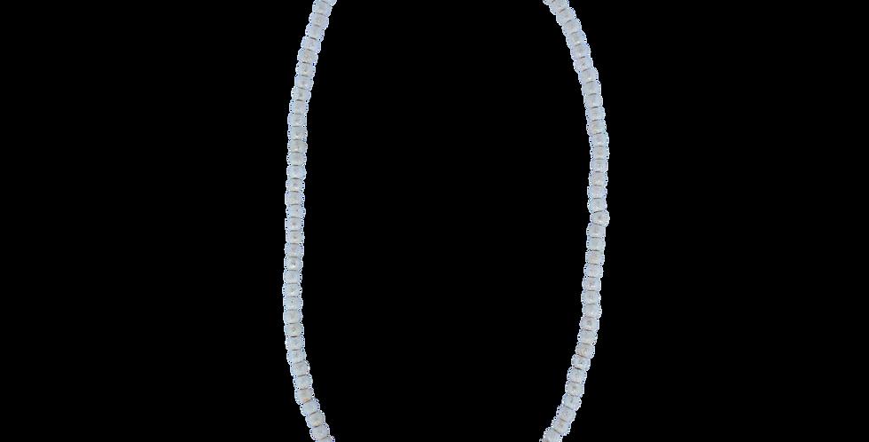 Halskæde med sølvbeads og turkis