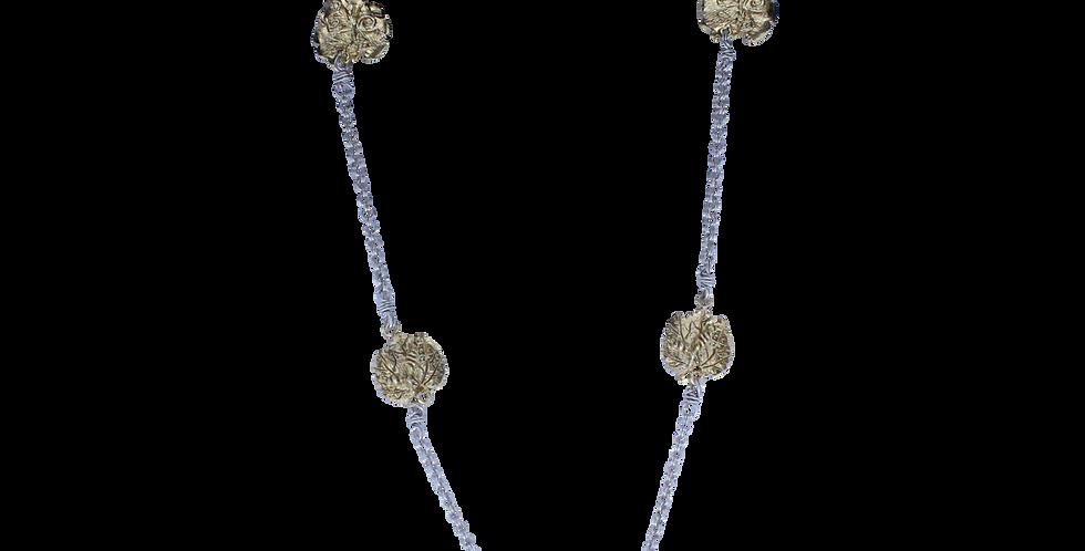 Sølvhalskæde med forgyldte blade