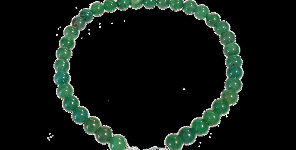 Halskæde med beads af grøn agat