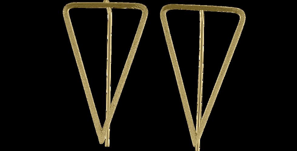 Forgyldte trekant-øreringe med glittereffekt