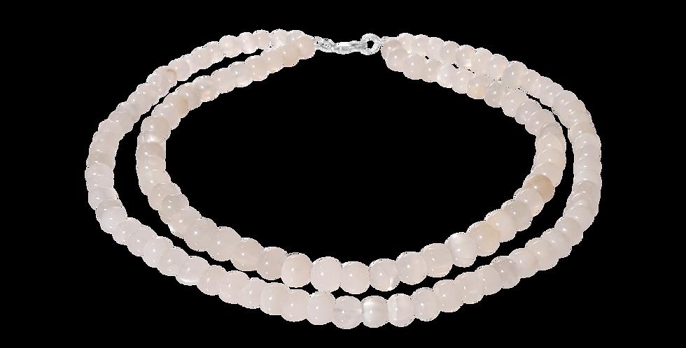 2-i-1 halskæde med hvid jade