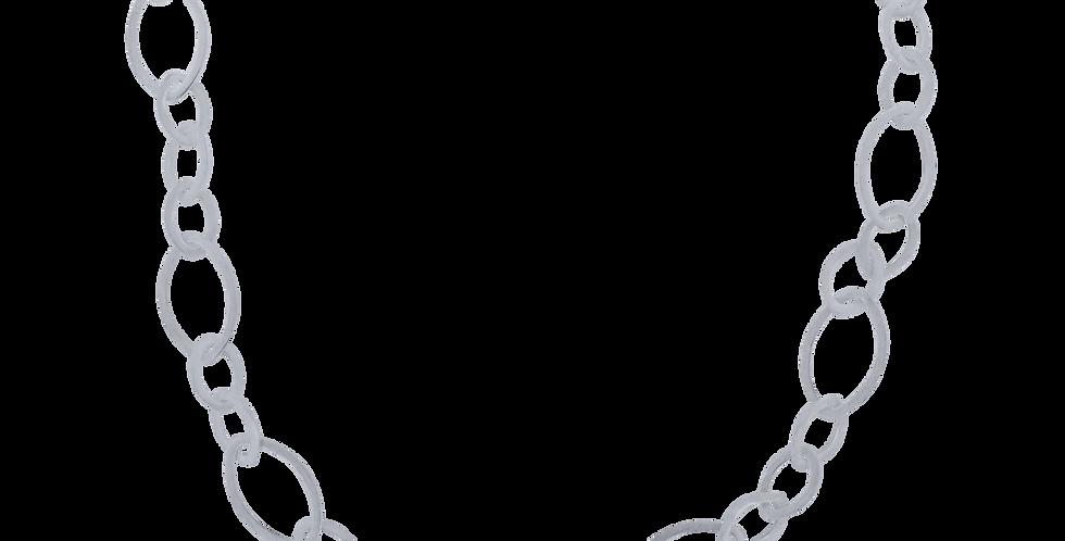 Chunky sølvhalskæde - halskæde med bladformede kædeled