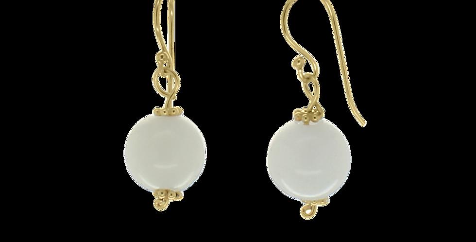 Forgyldte øreringe med hvid jade