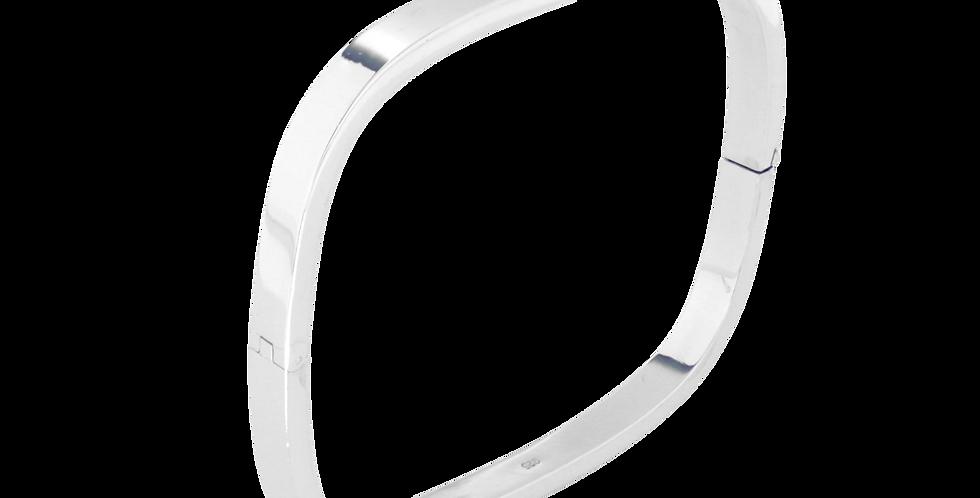 Smalt fast firkantet sølvarmbånd