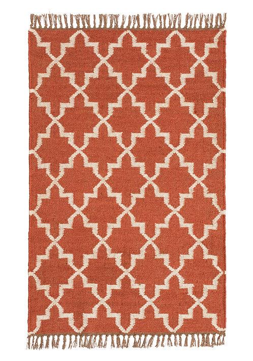 Sikri Kilim Handloom Rug - Terracotta