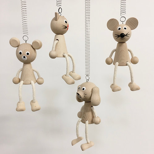 Wooden Springy Toy - Natural