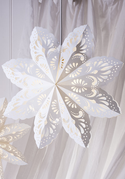 White Lace Pattern Large Paper Star