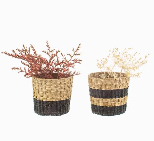 Mini Seagrass Planters - Black/Natural