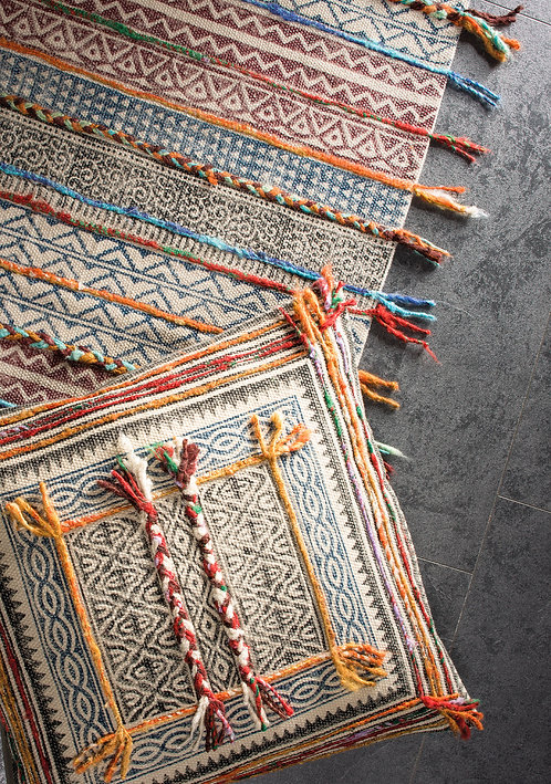 Blockprint Tribal Indian Rug with Embroidery