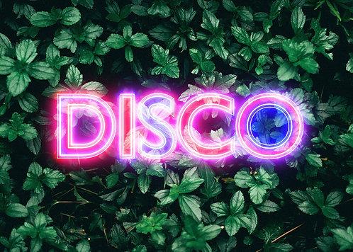 Disco Leaves Retro Sign Neon Print