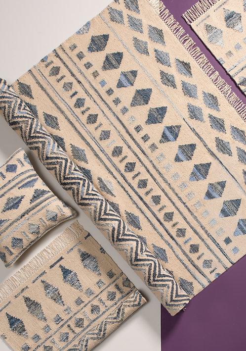 Inca Tribal Kilim Rug with Recycled Denim