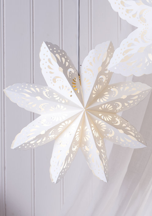 White Lace Pattern Hanging Star