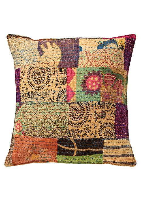 Kantha Stitched Cotton Patchwork Cushion