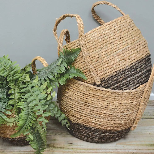 Seagrass Basket Tall with Handle Charcoal Base