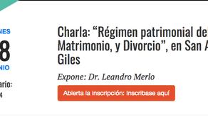 """CHARLA """"RÉGIMEN PATRIMONIAL DEL MATRIMONIO Y DIVORCIO"""" EN SAN ANDRÉS DE GILES"""