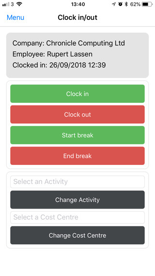 Smart Phone Clocking - Activity Tracking and Cost Centre Analysis for Time and Attendance users
