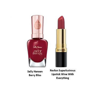 Sally Hansen - Berry Bliss & Revlon Superlustrous Lipstick Wine With Everything