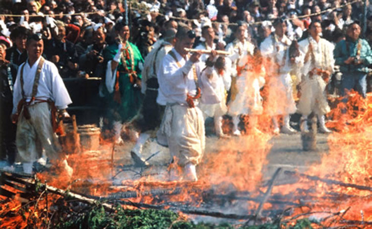 Watch Monks walk on fire at Hiwatari-sai