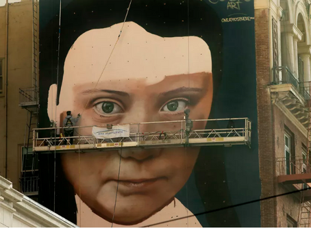 Huge Greta Thunberg Mural Underway Near Union Square