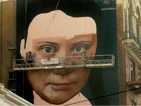 Huge Greta Thunberg Mural Underway Near Union Square