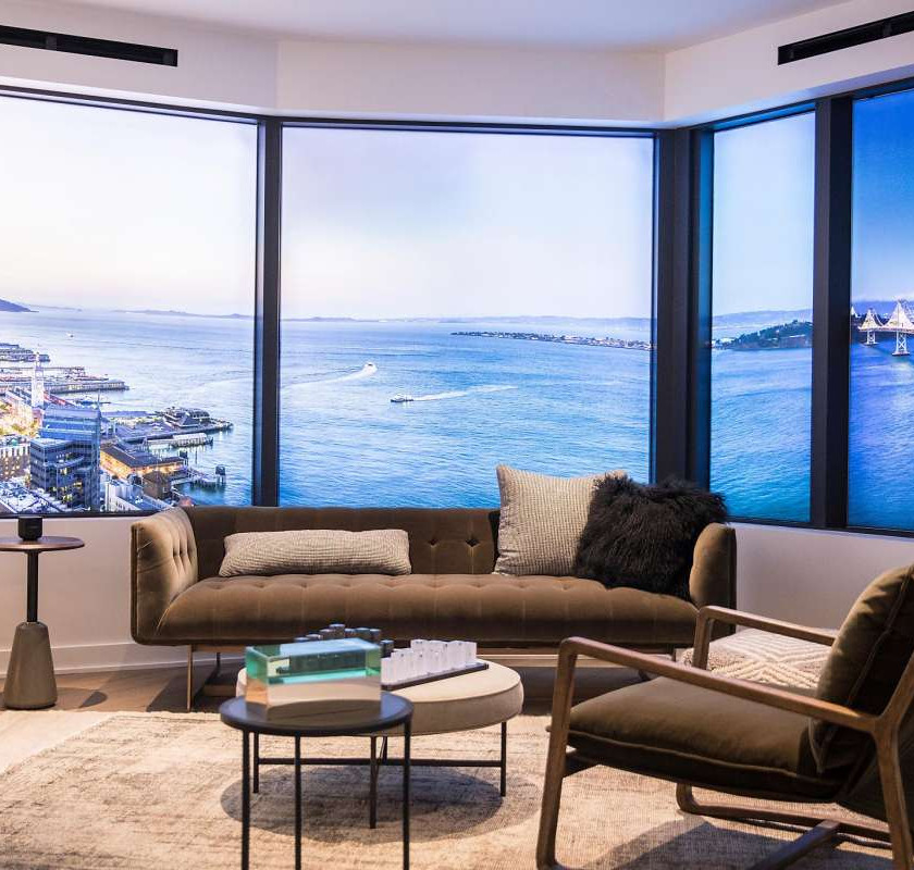 A model apartment displays the views from Mira apartments under construction in San Francisco's Financial District. The high-rise is as flashy as its neighbors on the block are mundane.Photo: Jessica Christian / The Chronicle