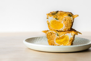 The gyeran bbang is one of our favorites. The mini loaf of Korean egg bread has small pieces of green onion, chili, and a bit of crusty cheddar cheese. The real surprise? A soft egg hiding in the center. (Sarah Chorey)