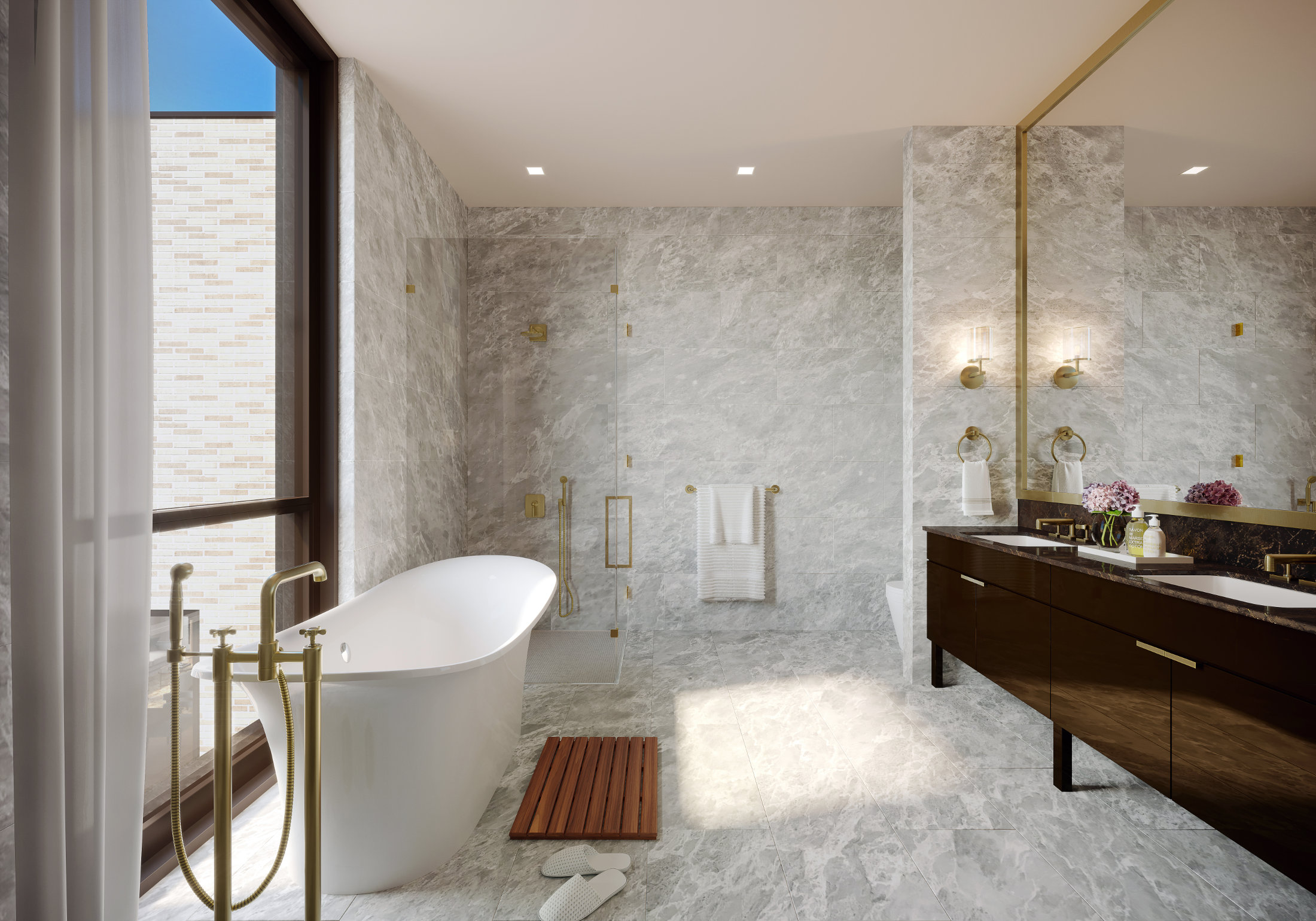 Luxurious bathroom bathed in light