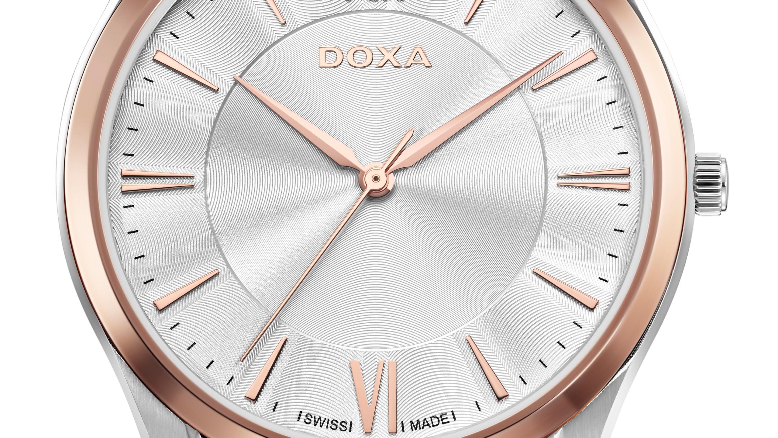 DOXA Executive Slim  直徑40(男裝)30(女裝)毫米精鋼或電鍍玫瑰金錶殼∕時間指示∕瑞士石英機芯∕防水50米/HK$3,680(男裝) HK3,280(女裝)
