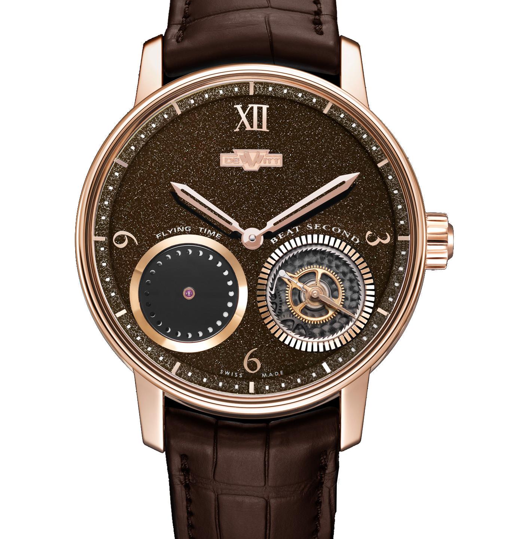 腕錶同時備有鑲嵌金箔的朱古力色漆面款式,同樣簡約迷人。