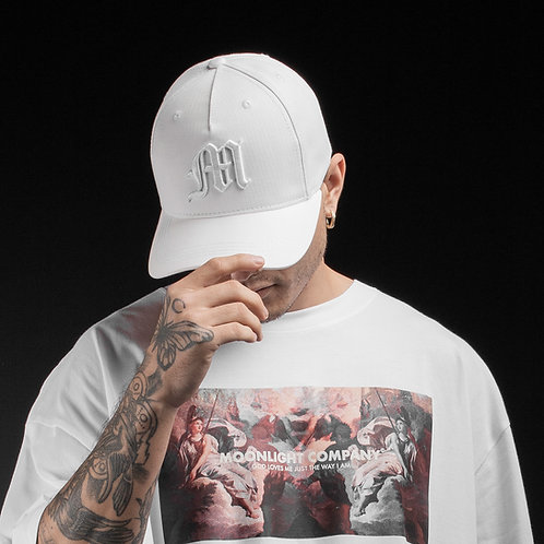Baseball cap M logo/All white