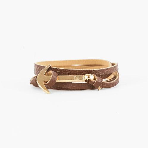 Fisher Bracelet - Chocolate - Hebilla Dorada