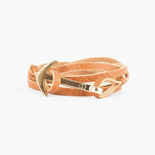 Fisher Bracelet - Camel - Hebilla Dorada