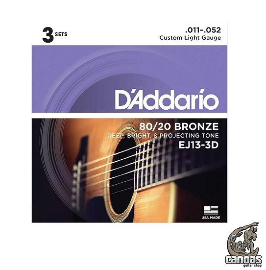 3 sets Encordoamento D'Addario 80/20 Bronze Violão Aço EJ13-B 3D