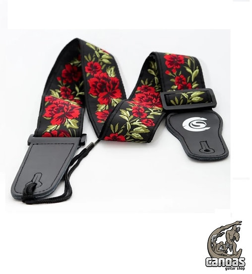 Correia Custom Sound Jacquard CSS 2 Flores Vermelhas