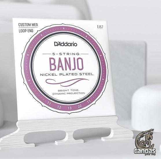 Encordoamento D'Addario Banjo-5 String EJ57 Nickel Custom Med Loop End 11-22