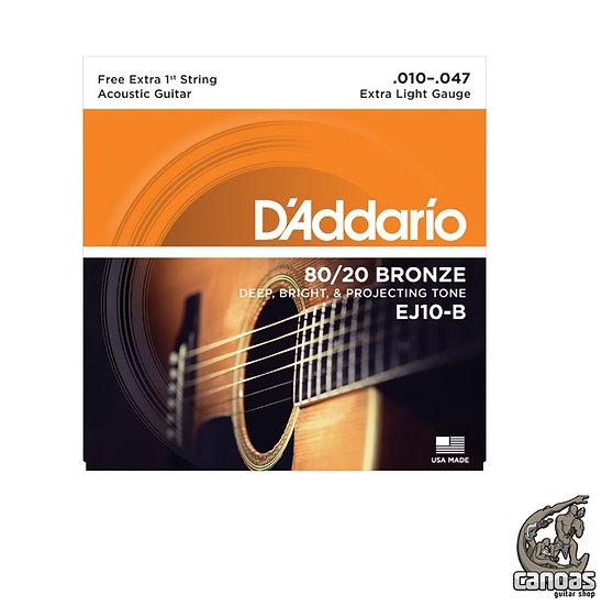 Encordoamento D'Addario 80/20 Bronze EJ10-B Extra Light .010-.047 Violão