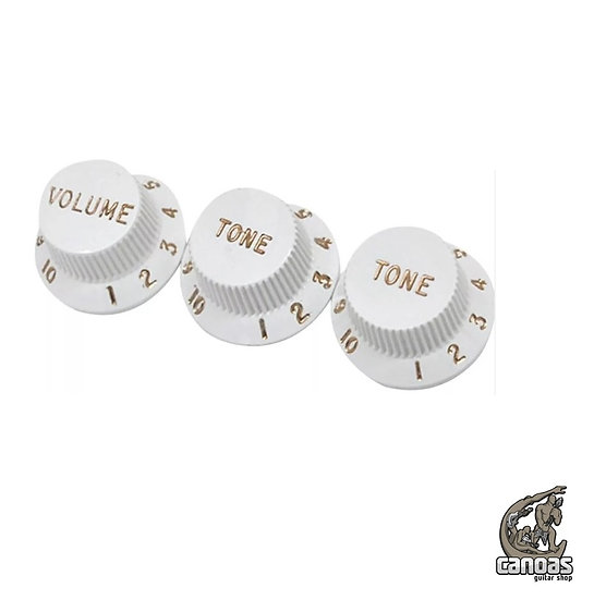 Set Knobs Fender Vintage Strat Branco