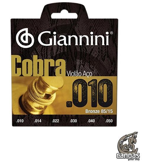Encordoamento Giannini Violão Aço .010 Série Cobra Bronze 85/15