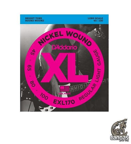 Encordoamento D'Addario Baixo EXL170 Nickel Wound Regular Light .045-.100 Escala