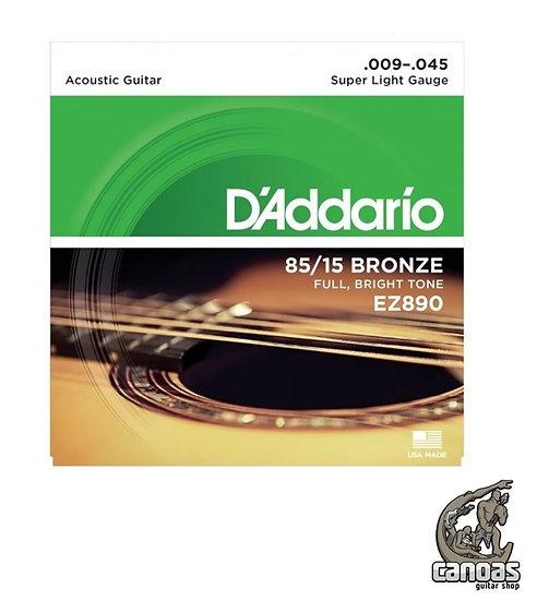 Encordoamento D'Addario Violão Aço EZ890 Bronze 85/15 .009/.045