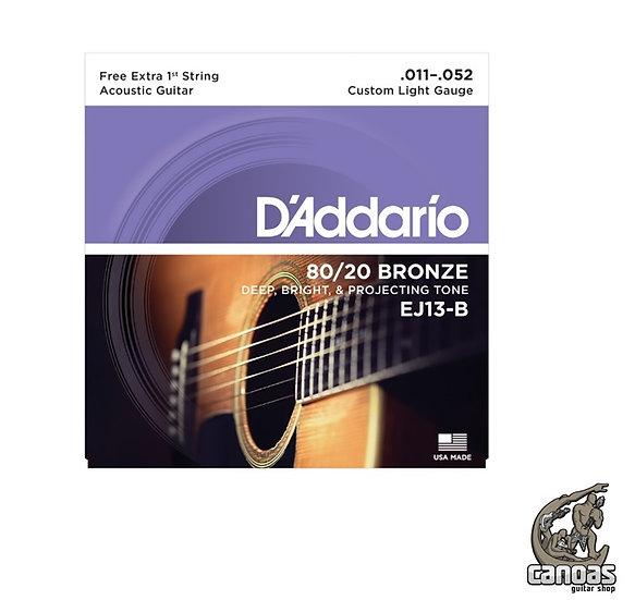 Encordoamenteo D'Addario 80/20 Bronze Violão Aço EJ13-B Custom Light .011-.052