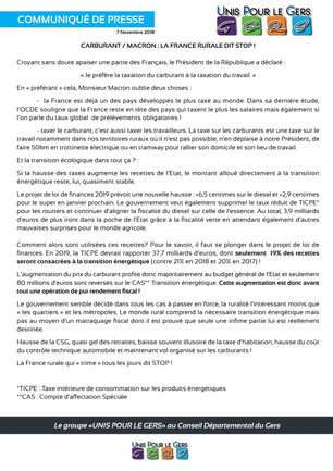 Carburant / Macron : La France rurale dit Stop !