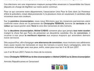Communiqué de presse de l'association Unis Pour le Gers - Élections Législatives