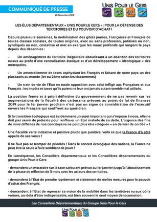 LES ÉLUS DÉPARTEMENTAUX « UNIS POUR LE GERS » : POUR LA DÉFENSE DES TERRITOIRES ET DU POUVOIR D'ACHA