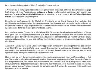 Communiqué de l'association Unis Pour le Gers - Elections législatives gers